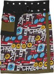 Abstract Art Boho Wrap Skirt with Waist Belt and Pocket