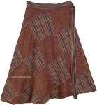 Brown Patchwork Cotton Wrap Around Skirt Knee Length