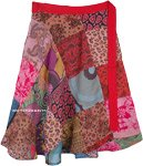 Patchwork Hippie Wrap Short Skirt in Cotton for Summer