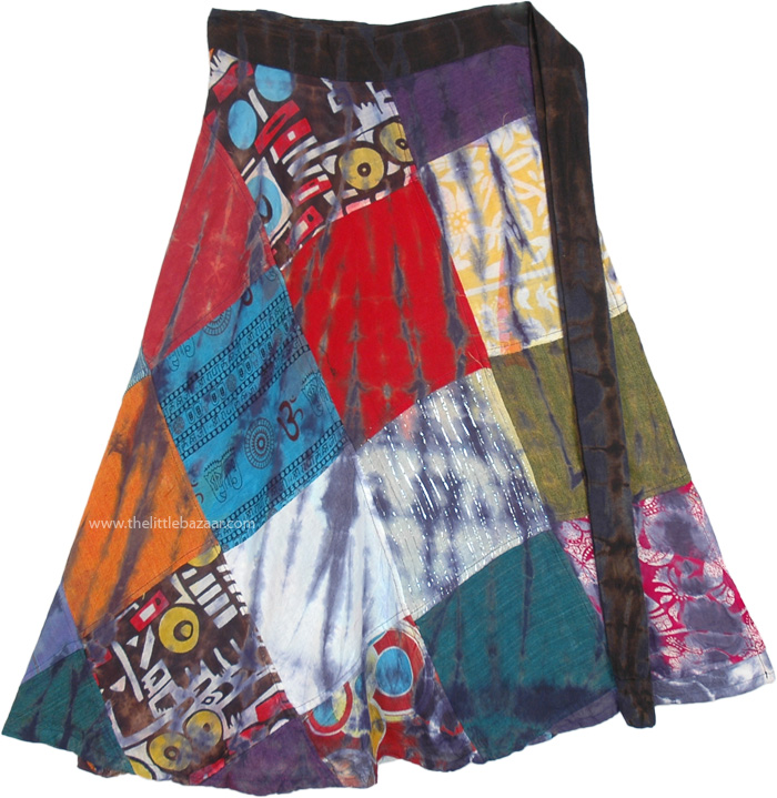Gypsy Moondust Patchwork Cotton Wrap Short Skirt