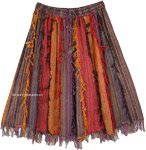 Fall Colors Vertical Patchwork Mid Length Skirt with Thread Fringes