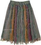 Earthen Tone Short Knee Length Gypsy Skirt with Fringes