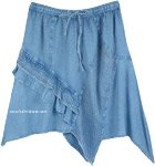 Handkerchief Hem Western Rodeo Knee Length Skirt in Light Denim Blue