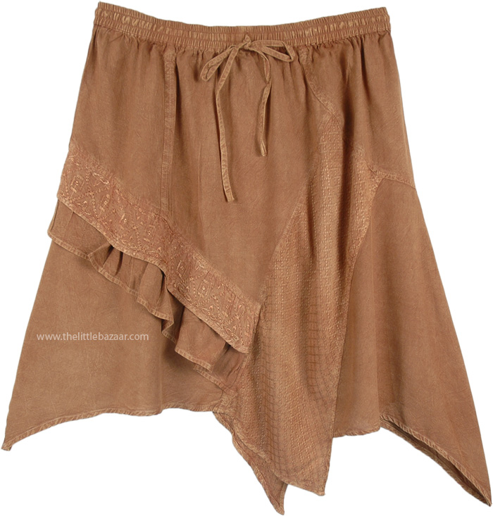 Handkerchief Hem Western Knee Length Skirt in Tan