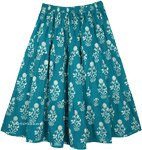 Forest Green Full Knee Length Cotton Summer Skirt