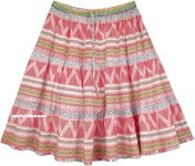 Fiesta Red Full Cotton Short Skirt for Summer
