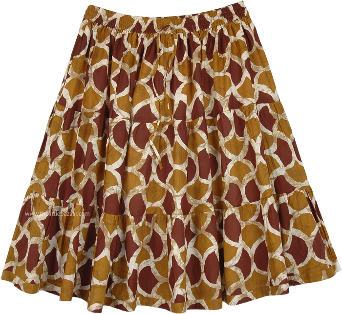 Raw Sienna Full Short Printed Cotton Skirt Brown