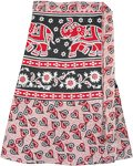 Ethnic Elephant Print Short Wrap Skirt in Red