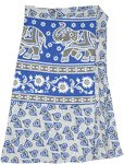Ethnic Elephant Print Short Wrap Skirt in Blue