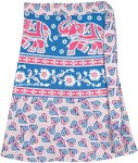 Ethnic Elephant Print Short Wrap Skirt in Pink and Blue