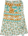 Indian Ethnic Elephant Print Short Skirt in Sea Green