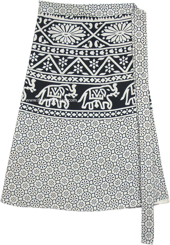 Floral and Elephant Print Bohemian Wrap Around Short Skirt
