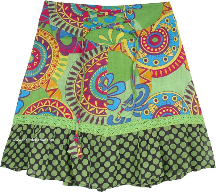 Summer Floral Printed Short Cotton Skirt in XS to S