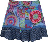 Blue Mandala Floral Printed Short Cotton Skirt in XS to S