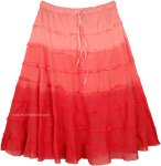 Flamingo Ombre Knee Length Summer Skirt with Tiers