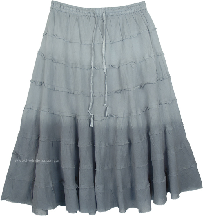Steel Grey Ombre Knee Length Summer Skirt with Tiers