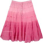 Pink Ombre Knee Length Summer Skirt with Tiers