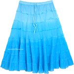 Turquoise Ombre Knee Length Summer Skirt with Tiers