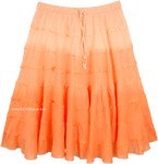 Melon Ombre Knee Length Summer Skirt with Tiers
