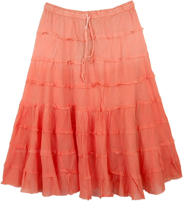 Orange Ombre Summer Short Skirt with Tiers