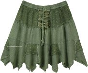 Olive Green Rodeo Mini Skirt with Tiers and Tie Up Lace