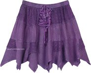 Purple Rodeo Mini Skirt with Tiers and Tie Up Lace