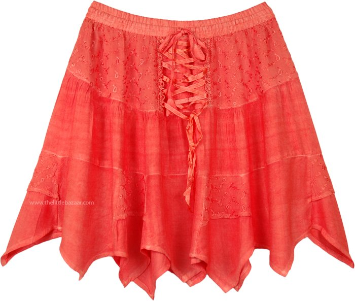 Coral Reef Summer Rodeo Mini Skirt with Tie Up Lace and Tiers