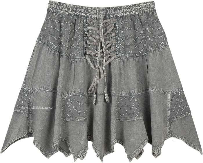 Saddle Up Steel Grey Mini Skirt with Tiers and Tie Up Lace