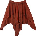 Stonewashed Merlot Handkerchief Hem Double Layered Skirt
