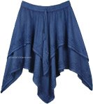 Denim Blue Handkerchief Hem Double Layered Skirt