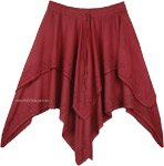 Catawba Handkerchief Hem Double Layered Short Skirt