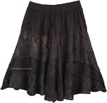 Night Black Knee Length Western Style Gypsy Skirt