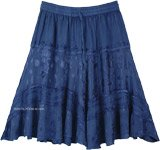 Denim Blue Knee Length Western Skirt with Elastic Waist