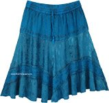 Teal Knee Length Western Skirt with Elastic Waist
