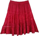 Pomegranate Knee Length Western Skirt with Elastic Waist