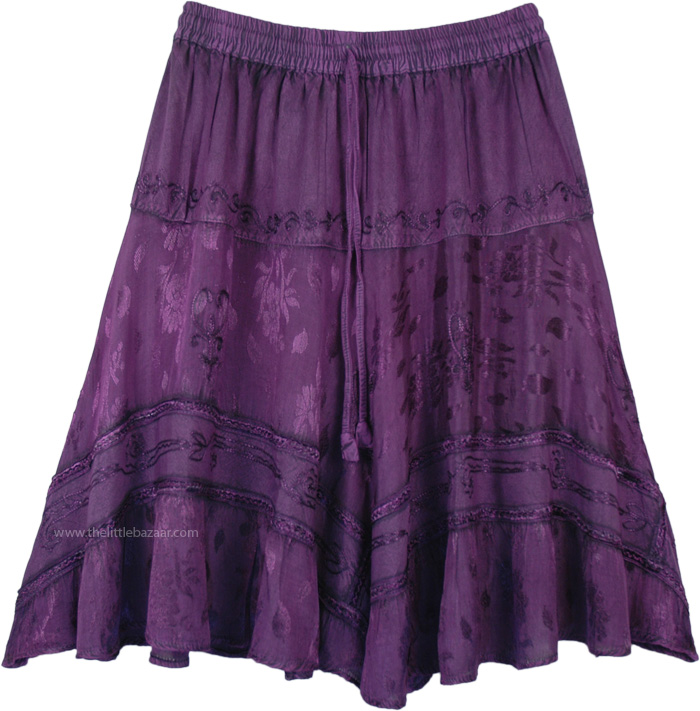 Raisin Purple Cowgirl Chic Barn Dance Knee Length Skirt