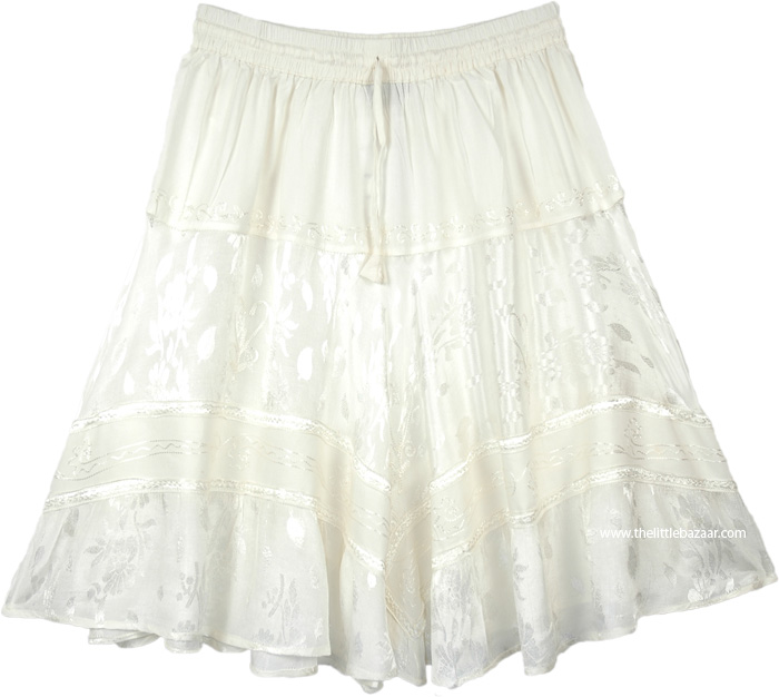 Pearl White Knee Length Western Skirt with Elastic Waist