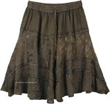 Soya Bean Color Renaissance Faire Handkerchief Hem Skirt