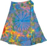 Azure Seethe Tie Dye Short Wrap Around Skirt