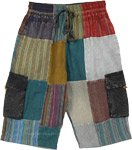Bermuda Cotton Patchwork Boho Shorts with Pockets