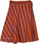 Plus Vertical Stripe Cotton Wrap Around Knee Length Skirt