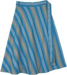 Plus Size Blue Mirage Woven Cotton Wrap Knee Length Skirt