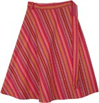 Radiant Rouge Plus Size Mid Length Woven Cotton Wrap Skirt