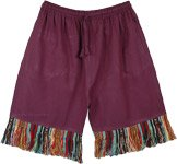 Mulberry Tribal Pocket Shorts with Woven Fringes