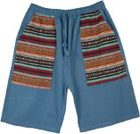 Blue Boho Woven Pockets Long Shorts in Cotton