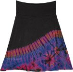 Night Shade Violet Wave Short Straight Tie Dye Skirt