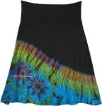Night Turquoise Tie Dye Straight Short Skirt