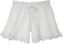 Scalloped Hem Pure White Cotton Crochet Shorts For Women