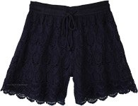 Scalloped Hem Navy Blue Cotton Crochet Shorts For Women