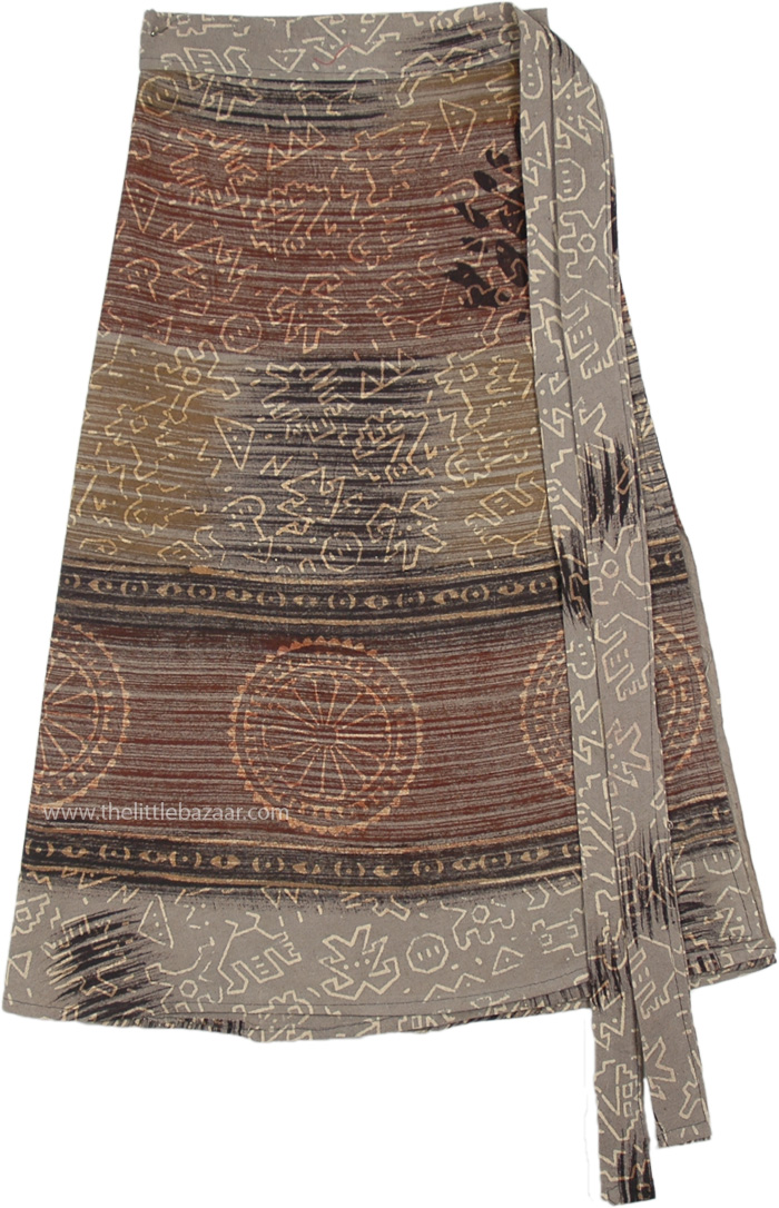 Earthy Grey Chakra Bohemian Wrap Around Short Skirt